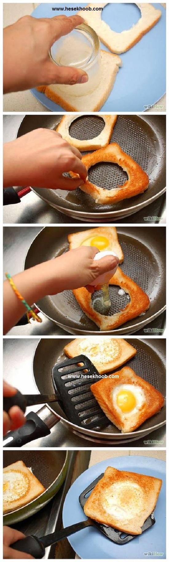 تخم مرغ با قالب نان تست