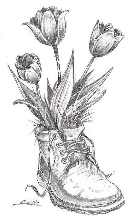 طرح نقاشی گل با سیاه قلم - حس خوب