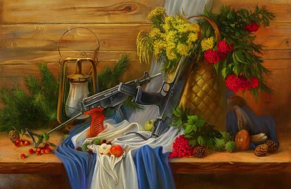 نقاشی رنگ روغن جنگی