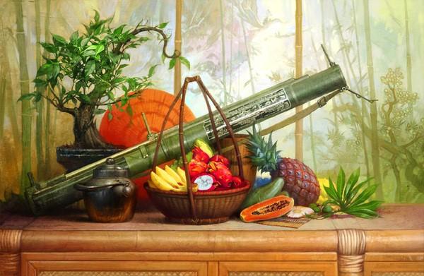 نقاشی رنگ روغن ابزار جنگی
