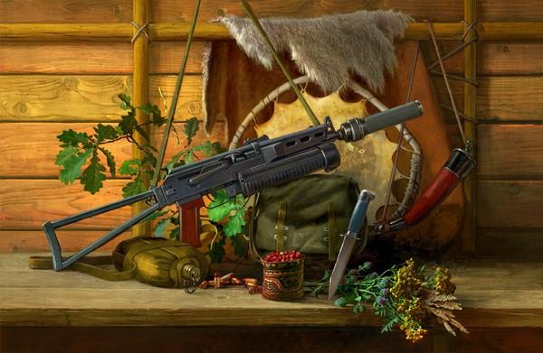 نقاشی رنگ روغن تفنگ