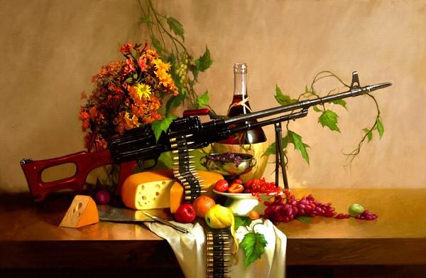 نقاشی رنگ روغن تفنگ جنگی
