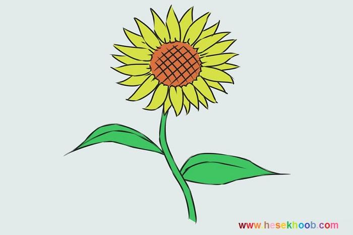 آموزش طراحی گل آفتابگردان