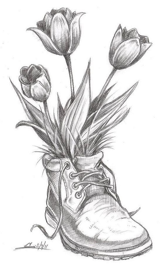 نقاشی گل لاله
