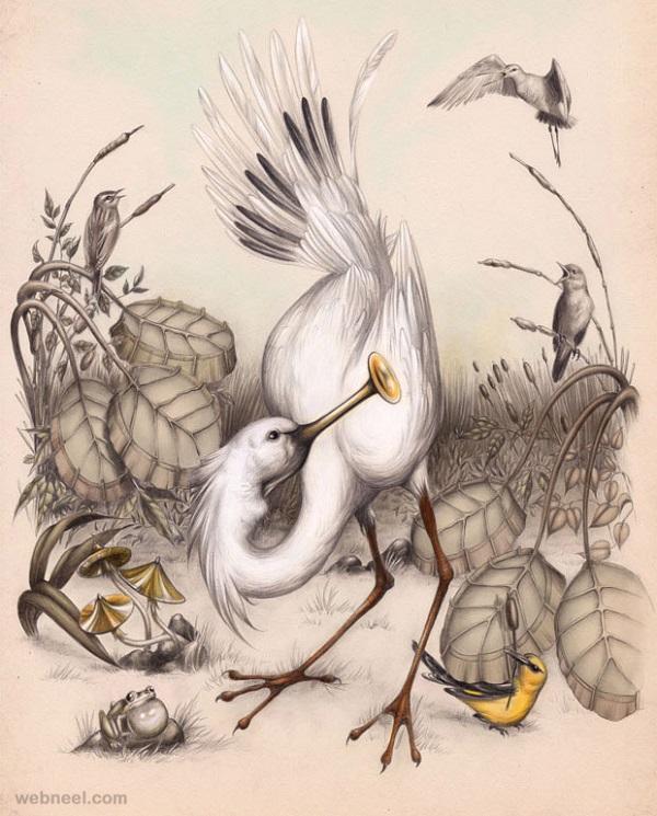طرح نقاشی سیاه قلم پرنده
