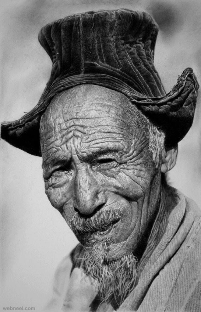 طراحی چهره پیرمرد