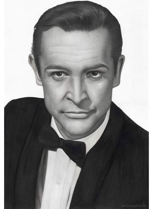 طراحی چهره مرد با سیاه قلم