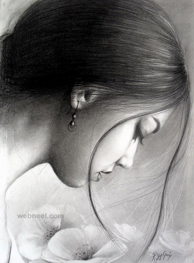 طراحی سیاه قلم چهره دختر