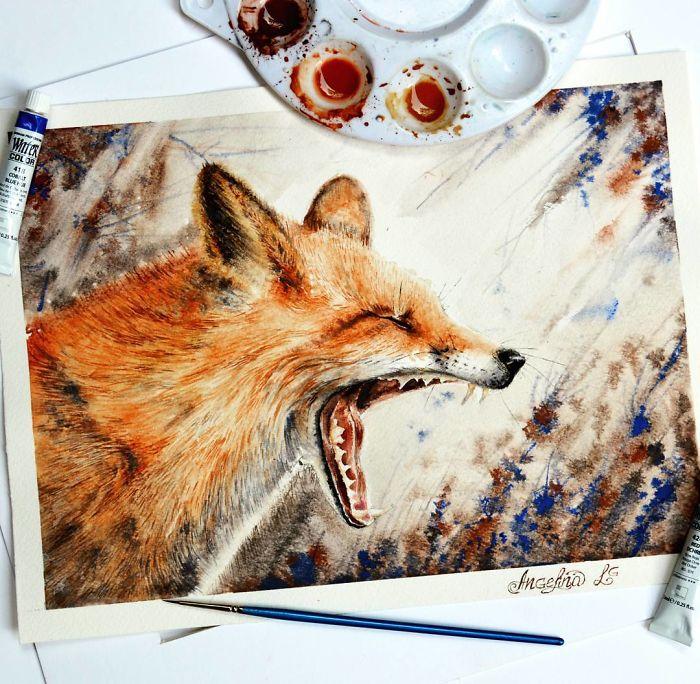 نقاشی آبرنگ از حیوانات
