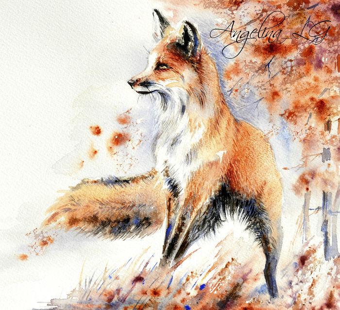 نقاشی روباه با آبرنگ