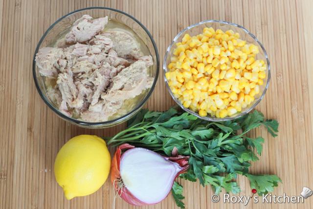 مواد لازم برای تهیه سالاد تن ماهی و ذرت
