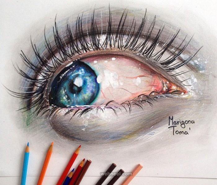 طراحی چشم با مدادرنگی