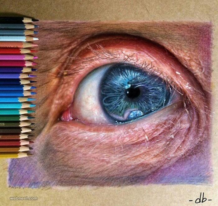 طراحی چشم با مداد رنگی