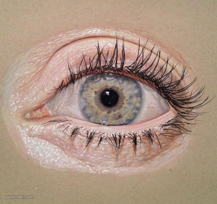 طرح نقاشی چشم با مداد