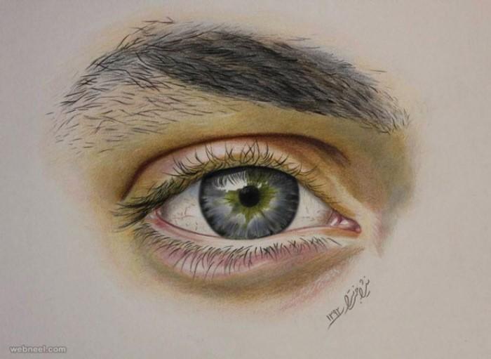 نقاشی چشم با مدادرنگی