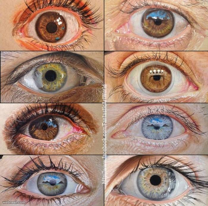 طرح نقاشی چشم با مدادرنگی
