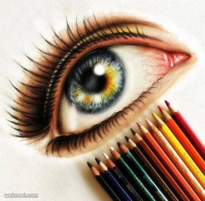 نقاشی چشم با مداد