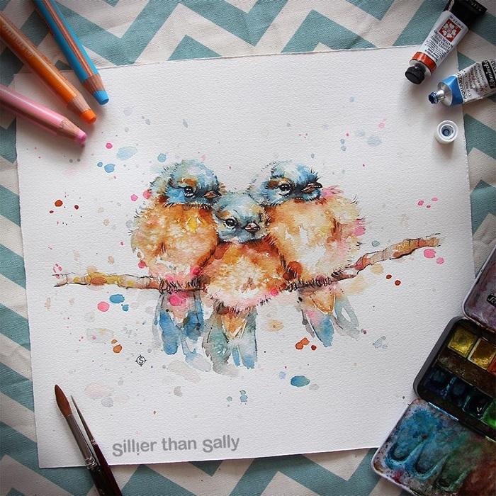 نقاشی آبرنگ با مداد آبرنگی