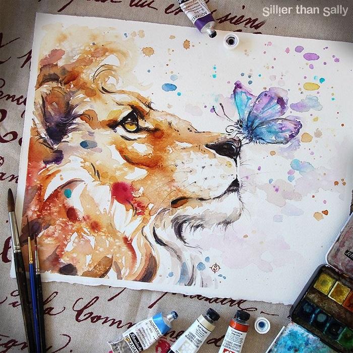 نقاشی حیوانات با آبرنگ