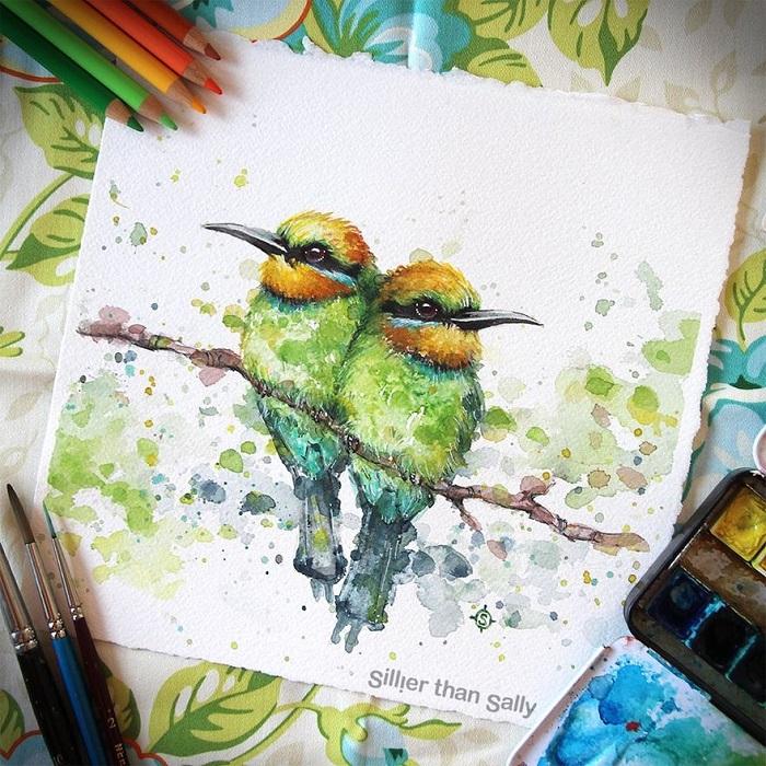 نقاشی پرنده با مدادابرنگی