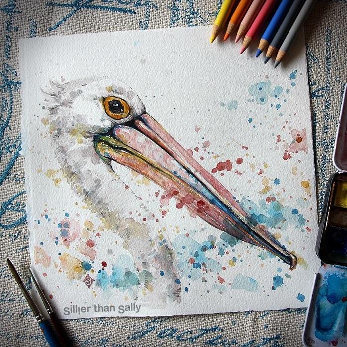نقاشی پرنده با مدادآبرنگی