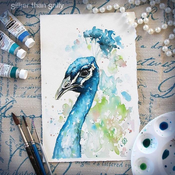 نقاشی پرنده با آبرنگ