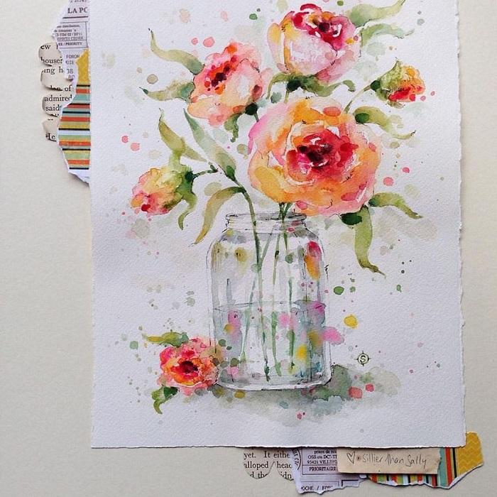نقاشی گل با آبرنگ