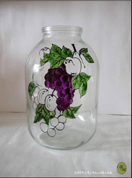 نقاشی روی شیشه مربا